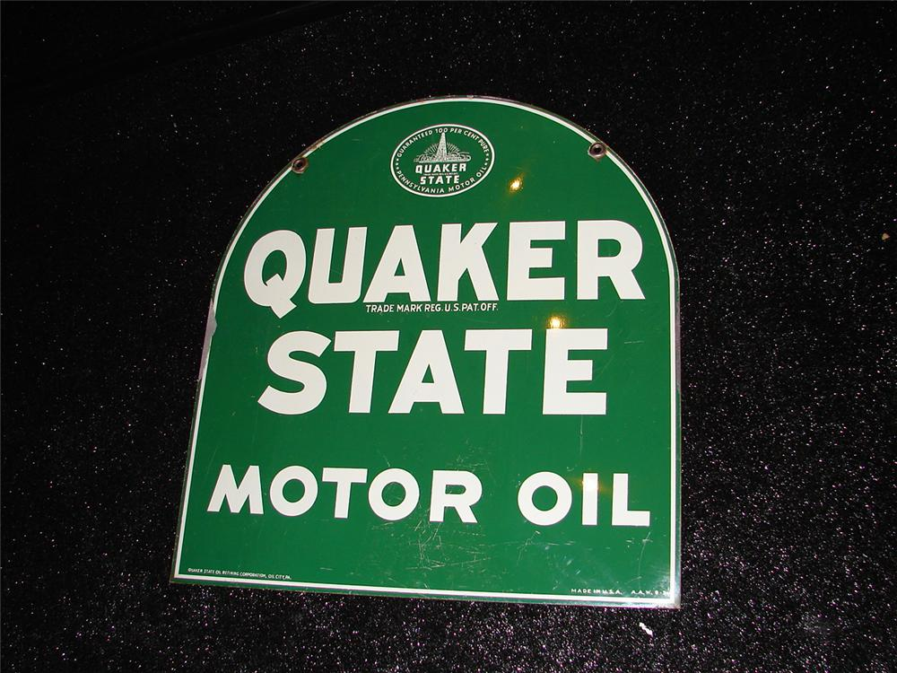 Fabulous 1950s Quaker State Motor Oil double-sided tin painted service station sign. - Front 3/4 - 120668