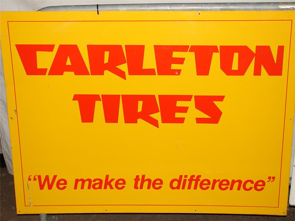 Unusual large Carleton Tires single-sided tin garage sign. - Front 3/4 - 120669