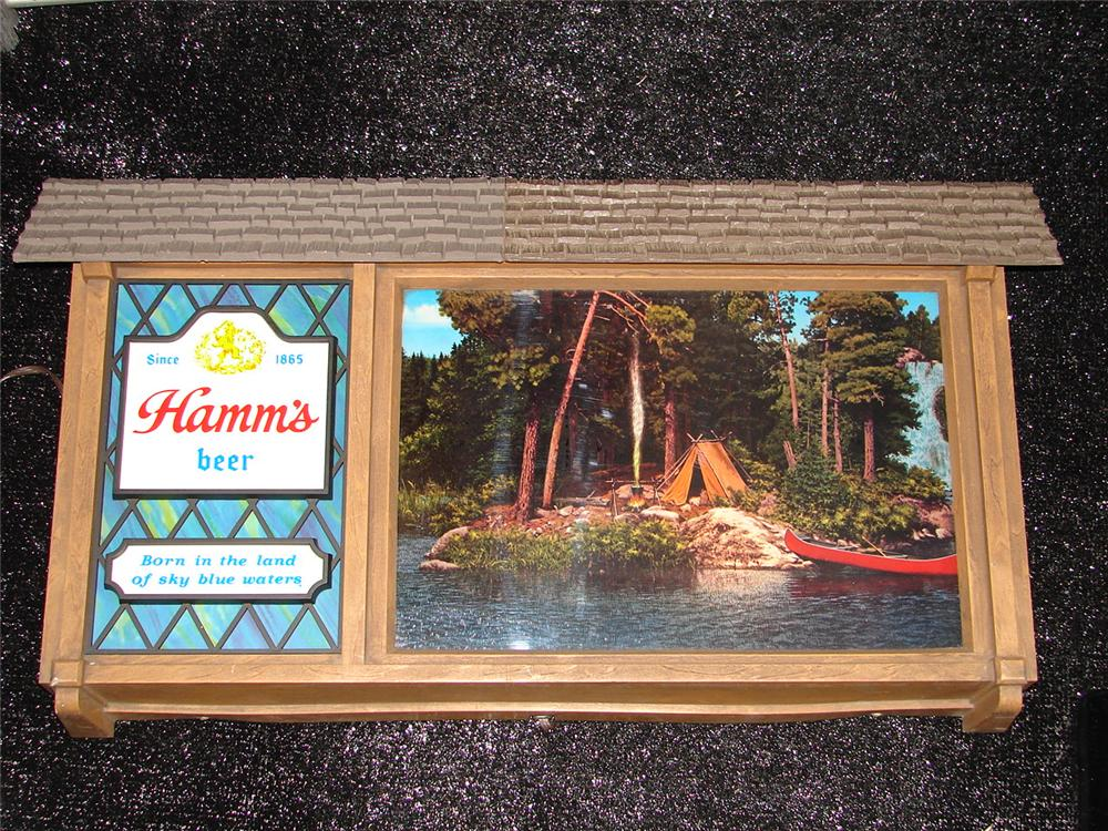Highly desirable 1950s Hamms Beer chalet tavern sign with animated flowing waters graphic. - Front 3/4 - 120671