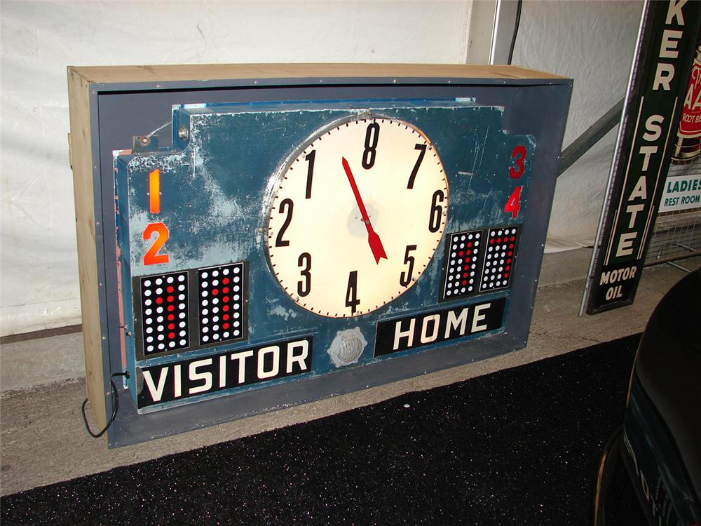 Large 1930s basketball arena scoreboard. Nicely rewired and lights. - Front 3/4 - 120674