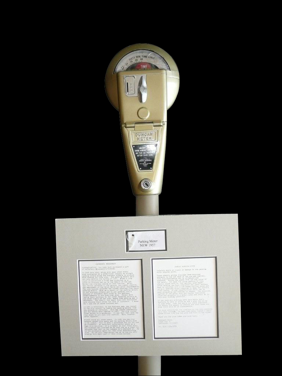 Original documented Duncan parking meter from Jefferson Wisconsin.  Perfect original condition.  Stored for 49 years! - Front 3/4 - 120735