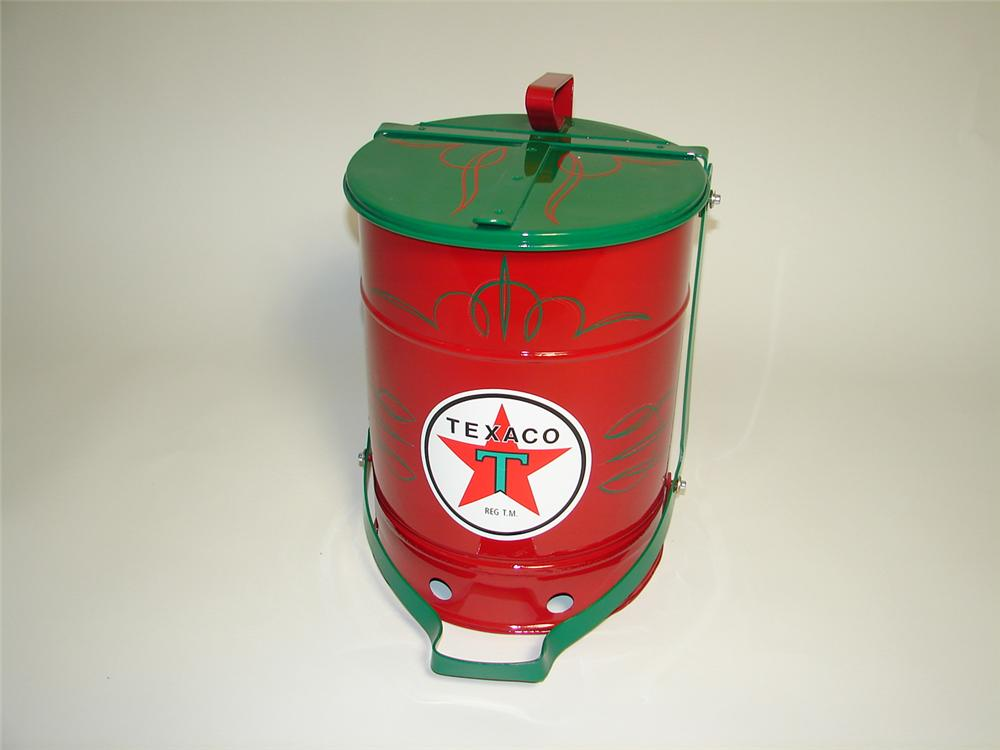 Simply immaculate 1930s Texaco Oil service department restored oil rag can with foot lever. - Front 3/4 - 125364