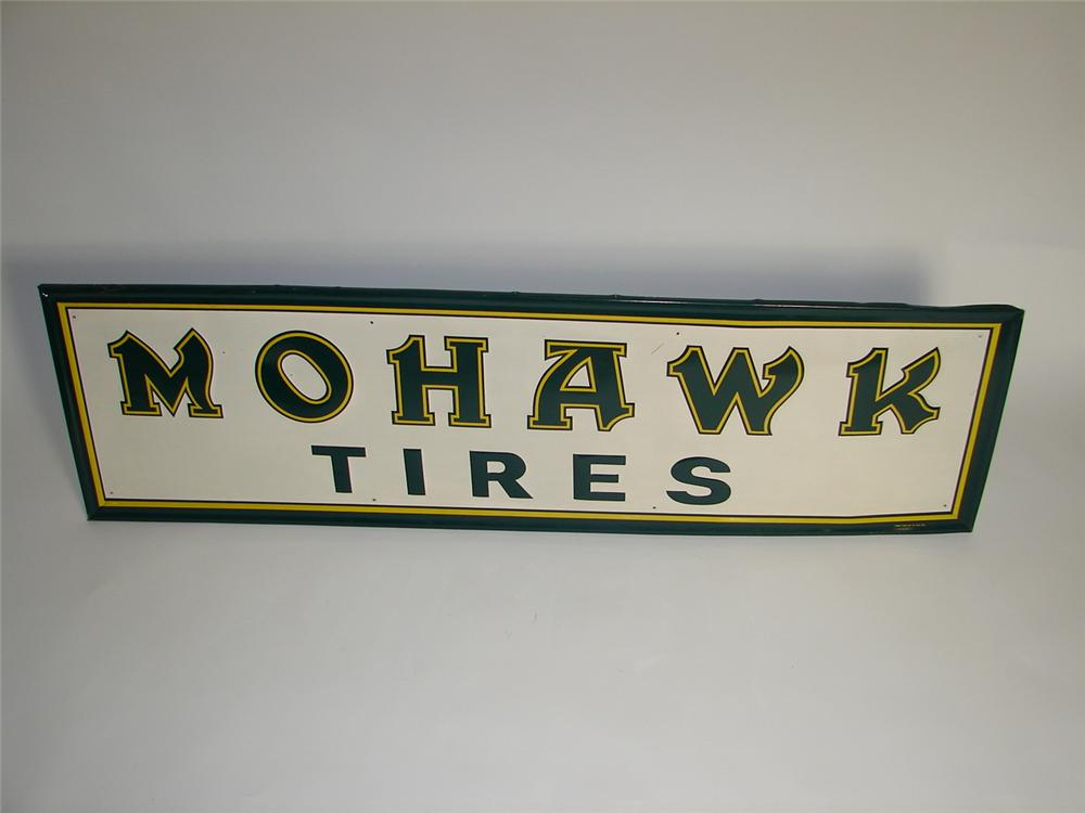 N.O.S. 1950s Mohawk Tires horizontal tin garage sign with embossed lettering. - Front 3/4 - 125369