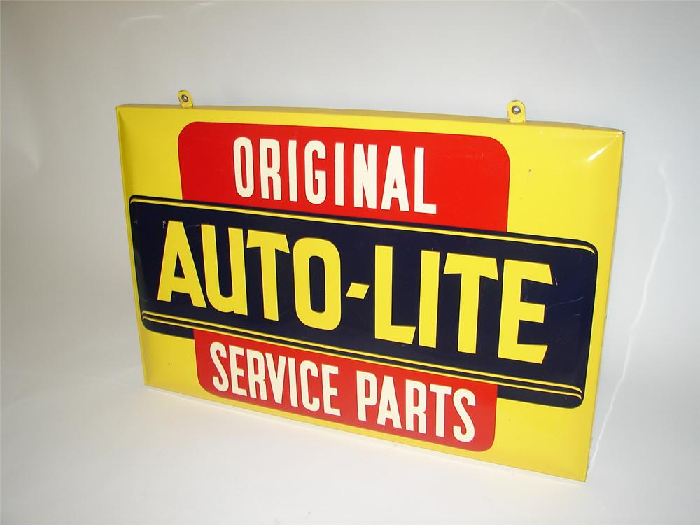 Beautiful 1940s-50s Auto-Lite Spark Plugs single-sided tin painted service garage sign with built-in brackets. - Front 3/4 - 125371