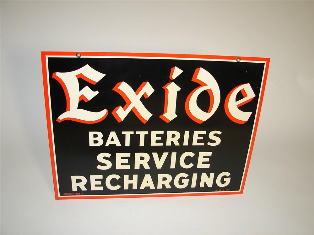 """Exceptional N.O.S. 1955 Exide Batteries """"Service Recharging"""" double-side tin painted garage sign. - Front 3/4 - 125372"""