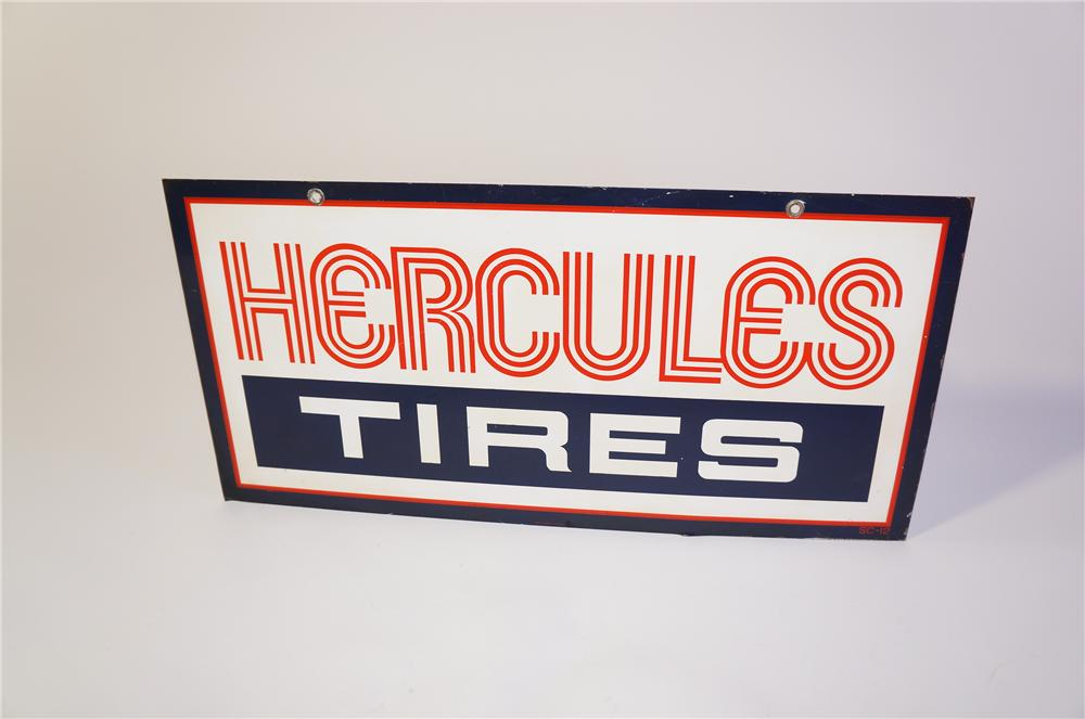 Unusual Hercules Tires double-sided tin garage sign. Good looking sign with nice colors. - Front 3/4 - 125377