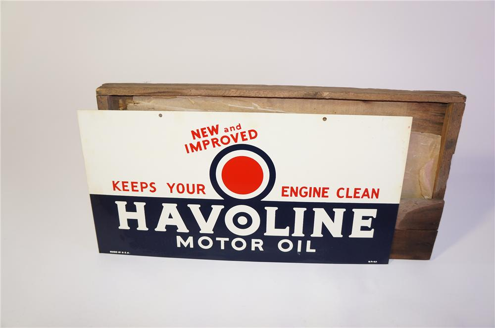 N.O.S. 1947 Texaco Havoline Motor Oil double-sided tin garage sign still in the original shipping crate! - Front 3/4 - 125382