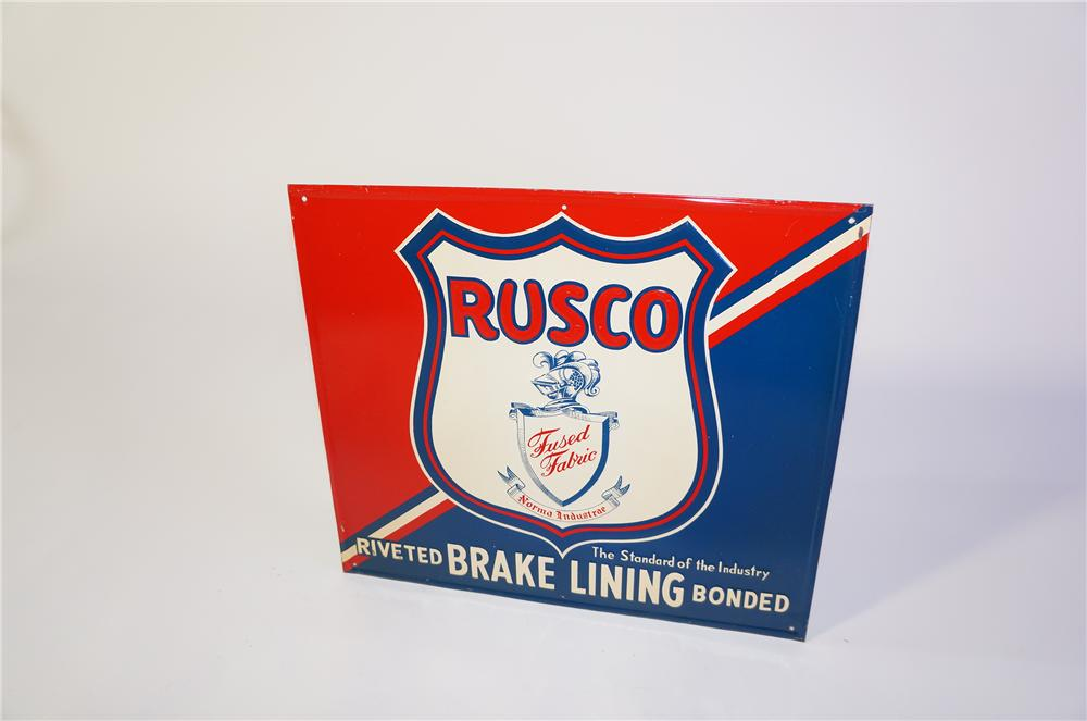 Unusual Rusco Riveted Automotive Brake Lining self-framed tin single-sided garage sign. - Front 3/4 - 125383