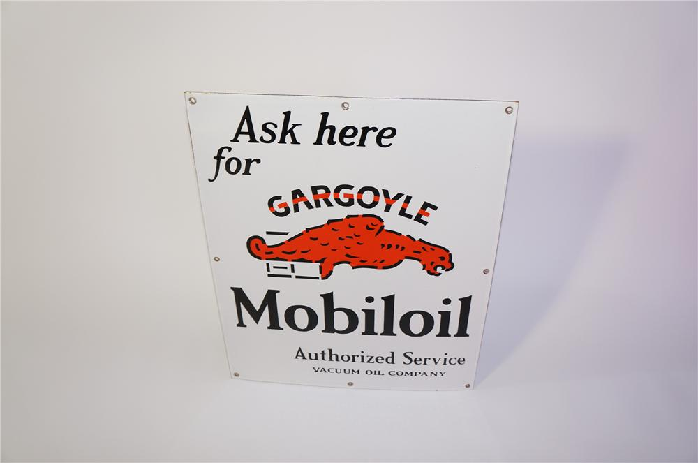 Sharp 1930s Mobil Oil Gargoyle single-sided porcelain filling station sign. - Front 3/4 - 125385