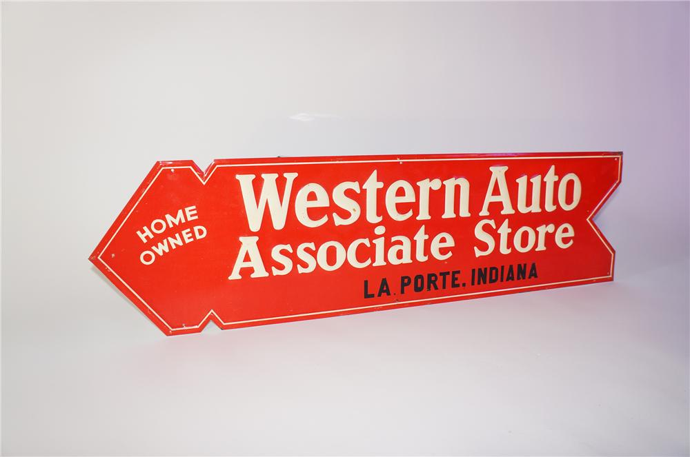 Extremely hard to find 1930s N.O.S. Western Auto Stores die-cut embossed tin arrow sign. - Front 3/4 - 125386