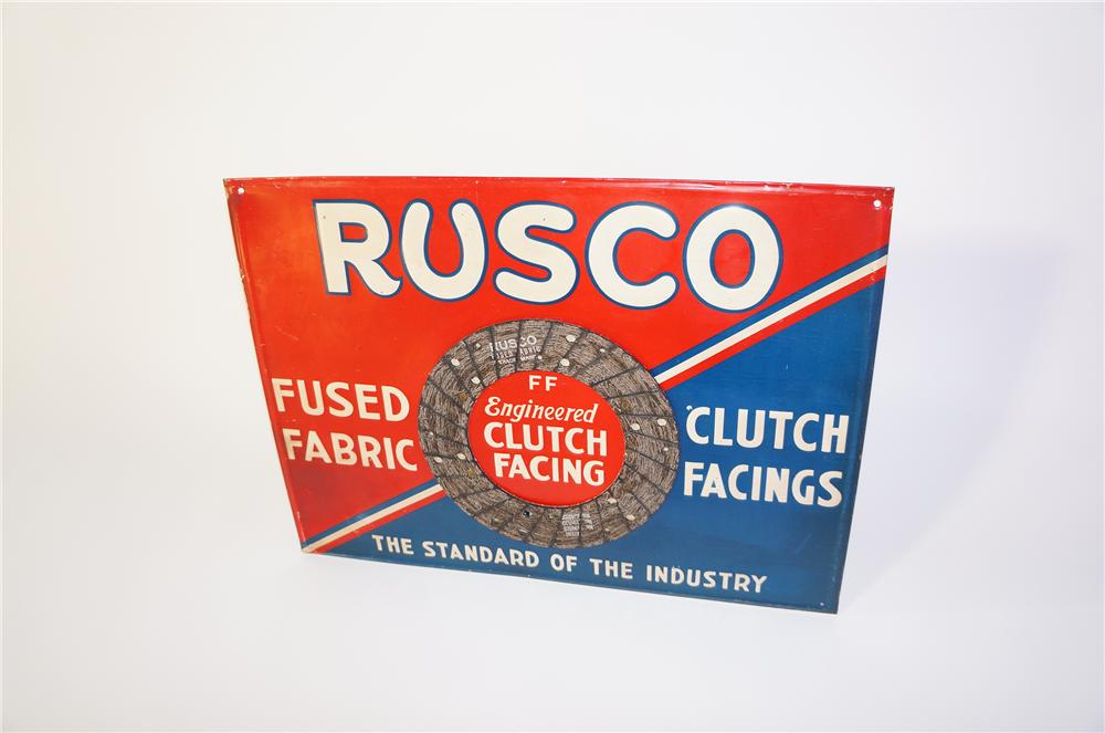 Very neat 1940s Fused Fabric Automotive Clutch Facings tin sign with actual facing attached. - Front 3/4 - 125387