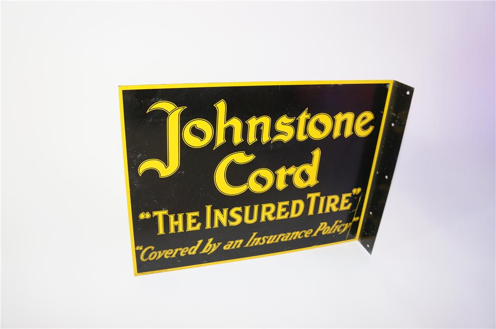 "Never before seen 1920s Johnstone Cord ""The Insured Tire"" double-sided tin garage flange sign. - Front 3/4 - 125390"