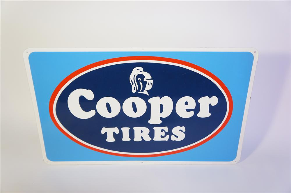 N.O.S. Cooper Tires horizontal tin garage sign with knight heads logo. - Front 3/4 - 125394