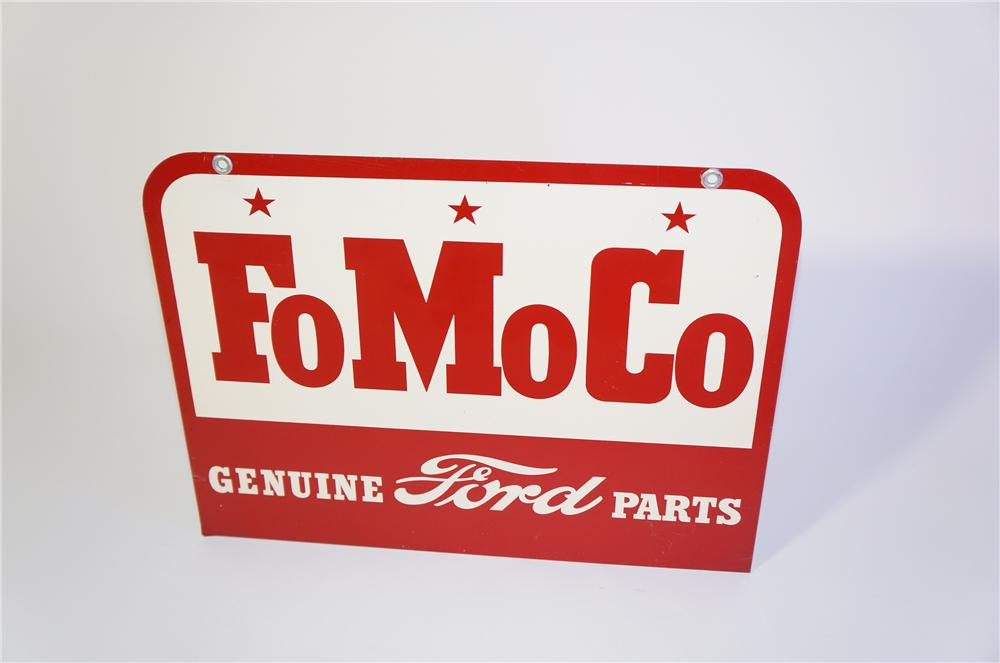"""Impressive late 50s Ford FoMoCo """"Ford Motor Company"""" Genuine Parts double-sided tin painted sign. - Front 3/4 - 125395"""