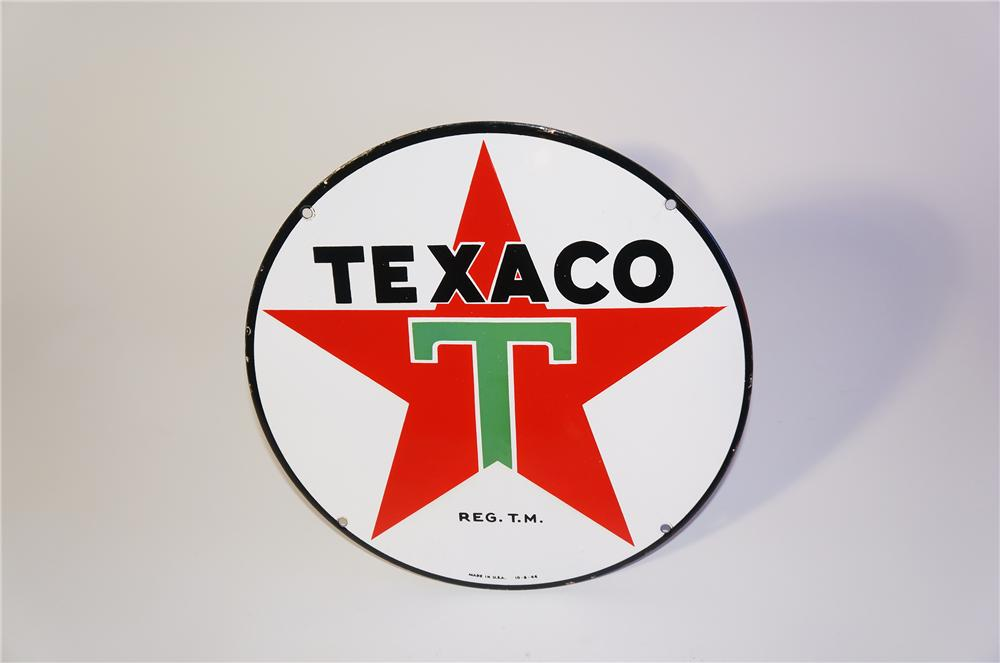Choice 1946 Texaco single-sided porcelain lubester sign with Star logo. - Front 3/4 - 125398