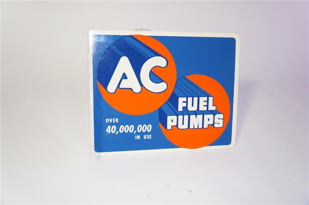N.O.S. 1950 AC Fuel Pumps double-sided tin garage flange sign.  Appears to have never been used. - Front 3/4 - 125399