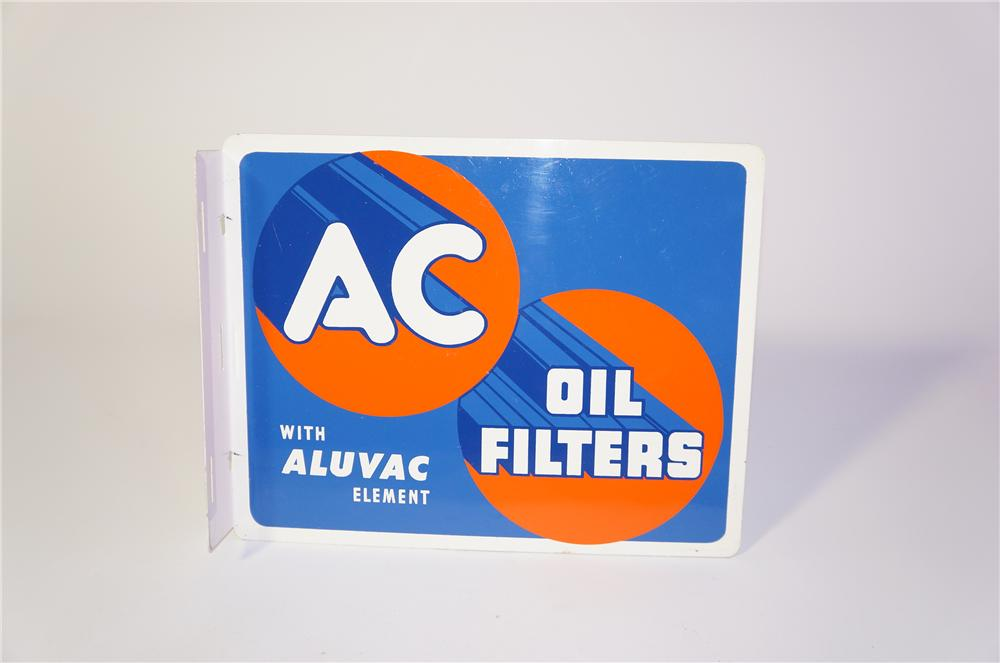 N.O.S. 1950 AC Oil Filters double-sided tin garage flange sign.  Found unused after 60+ years! - Front 3/4 - 125400