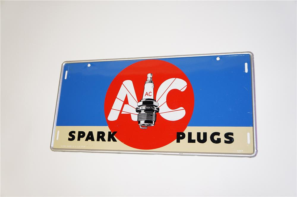 Beautiful N.O.S. 1941 AC Spark Plugs single-sided tin painted garage sign with killer plug graphic. - Front 3/4 - 125402