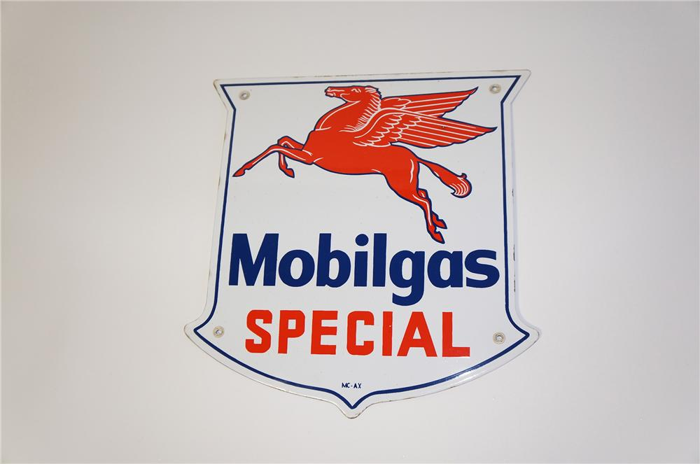 Fantastic 1950s Mobilgas Special single-sided porcelain shield shaped pump plate sign. - Front 3/4 - 125403