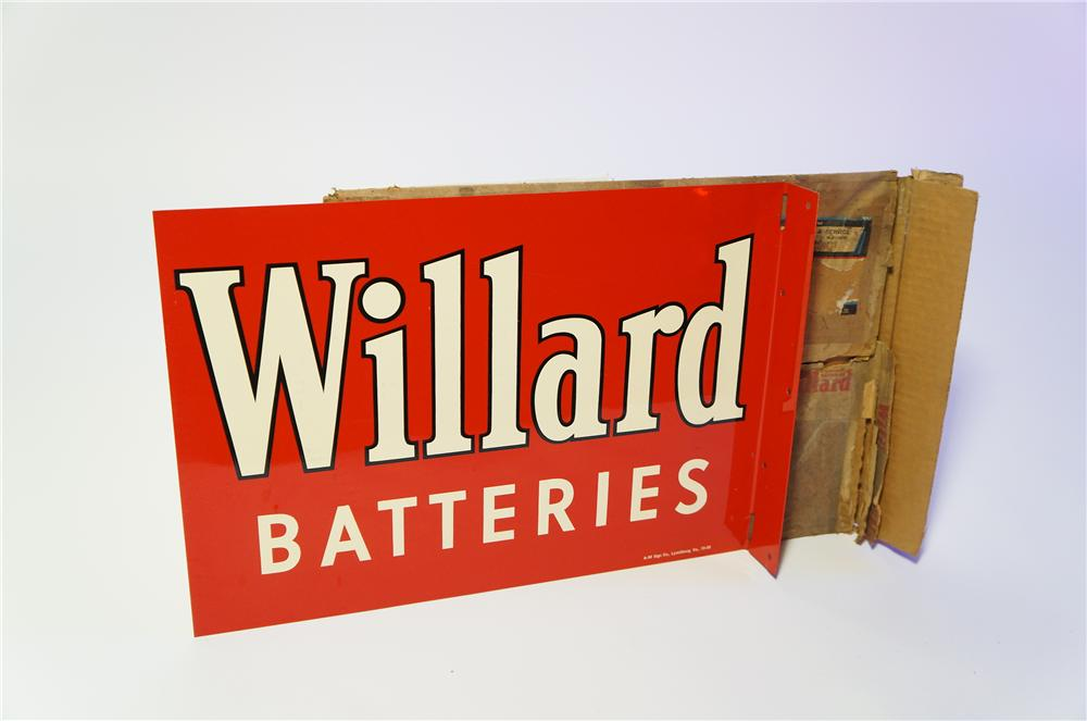 N.O.S. 1958 Willard Batteries double-sided tin painted garage flange found in the original box. - Front 3/4 - 125406
