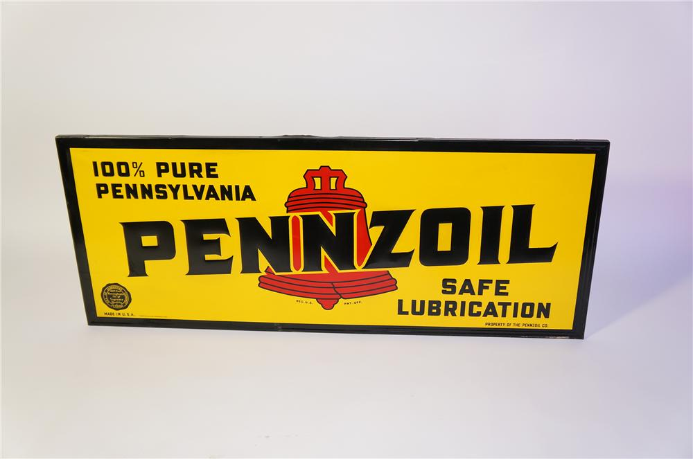 Amazing N.O.S. 1930s-40s Pennzoil Safe Lubrication horizontal wood framed tin automotive garage sign. - Front 3/4 - 125410
