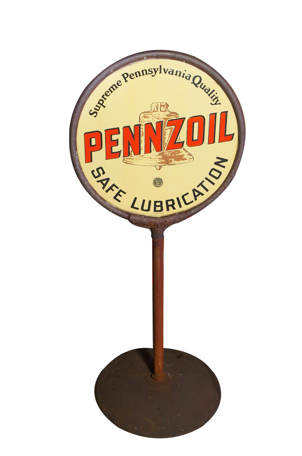 Superlative 1930s Pennzoil Safe Lubrication double-sided porcelain automotive garage curb sign on stand. - Front 3/4 - 125411