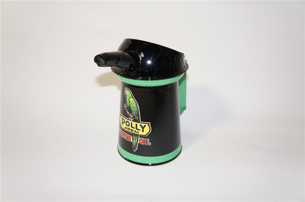 Choice 1930s-40s restored Polly Oil service department one-quart oil can with spout. - Front 3/4 - 125419