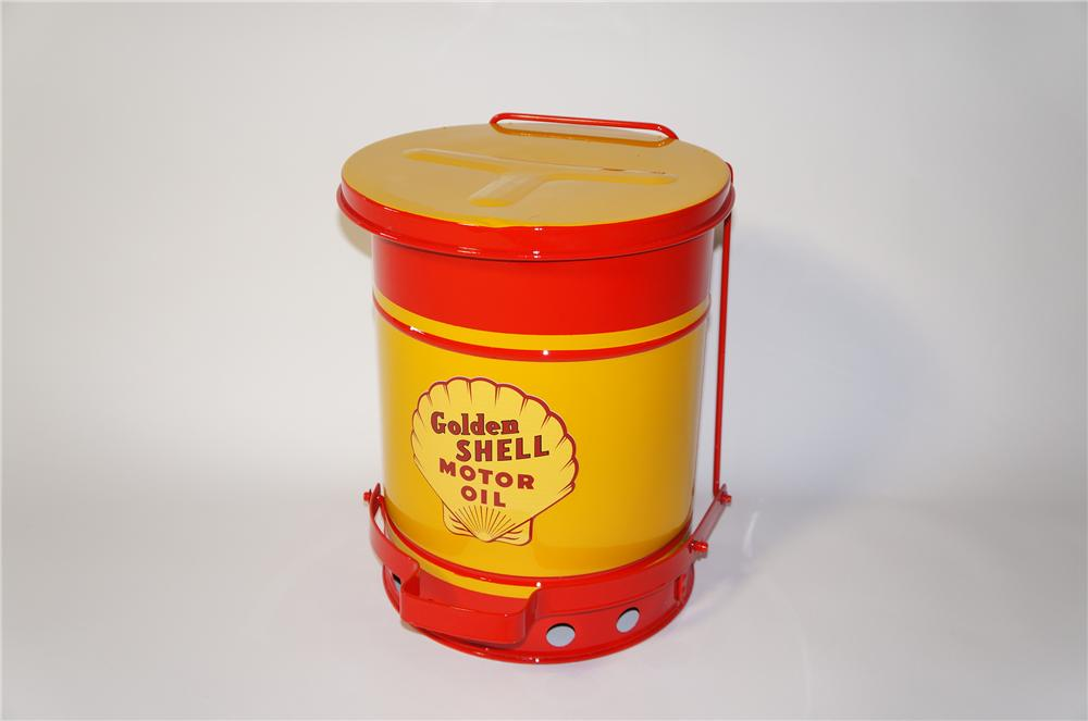 Fabulous 1930s restored Shell Oil service department oil rag storage can with foot lever. - Front 3/4 - 125424