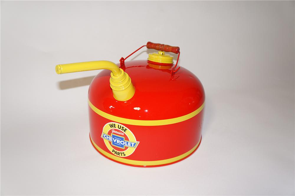 Neatly restored 1950s Chevy Genuine Parts service department gas can with spout. - Front 3/4 - 125425