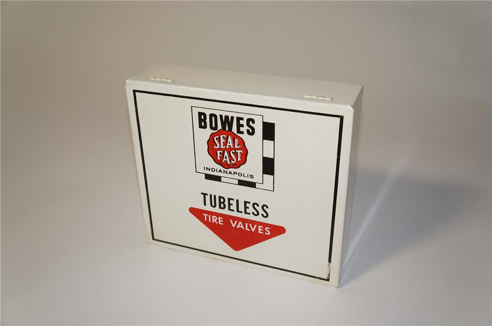 Very cool N.O.S. 1950s Bowes Seal Fast Tubeless Tire Valves service department display cabinet. - Front 3/4 - 125430