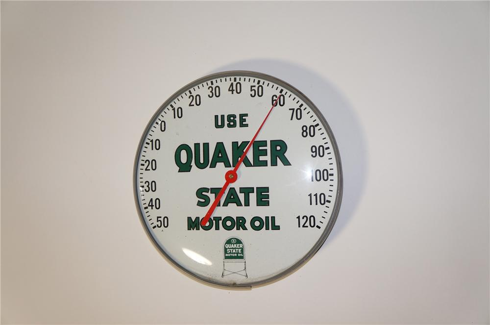 Desirable 1950s Quaker State Motor Oil glass faced service station dial thermometer. - Front 3/4 - 125447