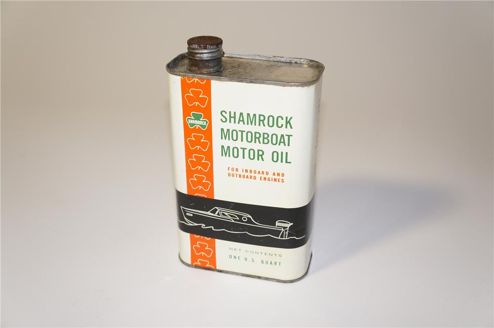 Very unusual 1950s Shamrock Motorboat Motor Oil one quart can with lid. - Front 3/4 - 125448