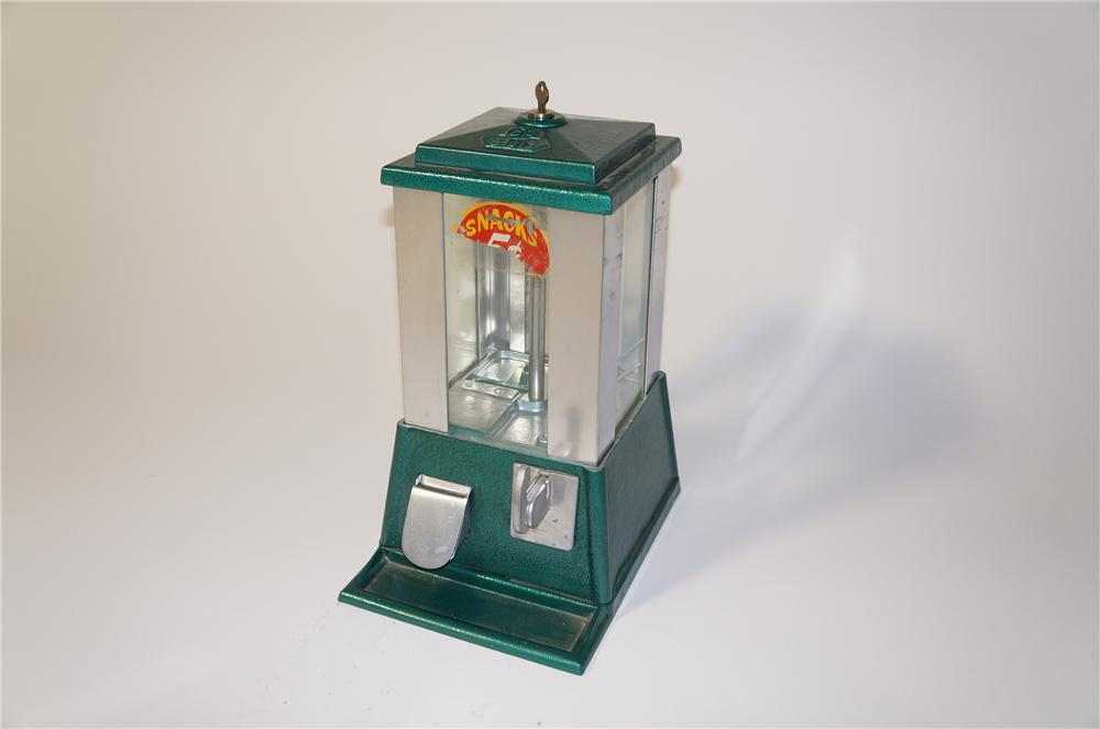 Unusual 1930s-40s Sun Vending five cent gumball/peanut machine with art deco styling. - Front 3/4 - 125450