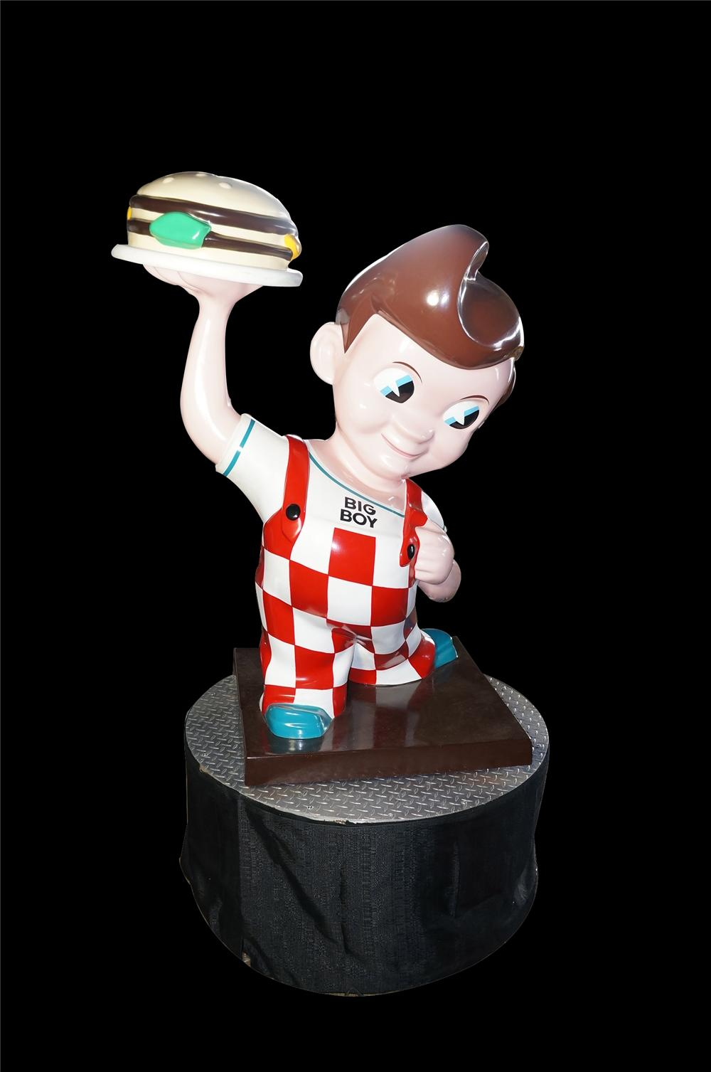 Fantastic small version vintage Bobs Big Boy three-dimensional diner sign on rotating stand. - Front 3/4 - 125451