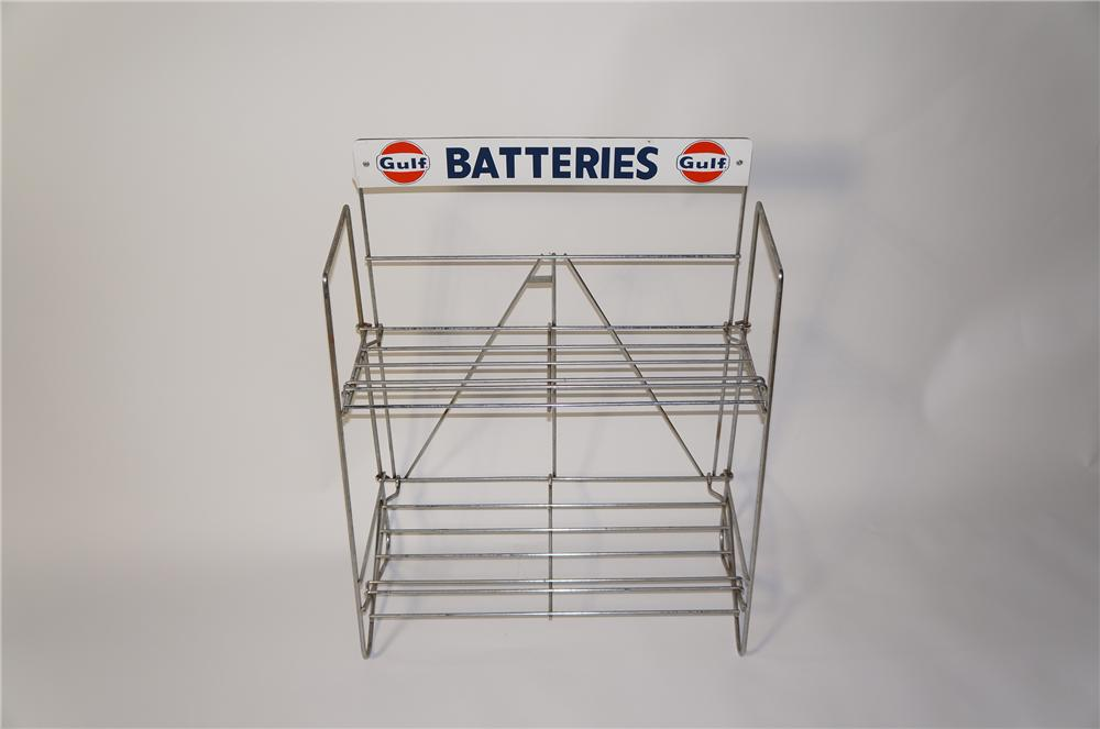 Superb N.O.S. 1950s-60 Gulf Batteries service station battery display rack. - Front 3/4 - 125453