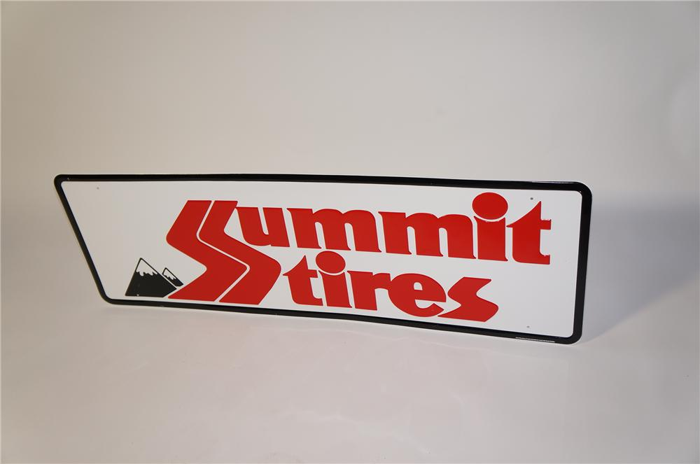 N.O.S. Summit Tires embossed tin automotive garage sign. - Front 3/4 - 125456