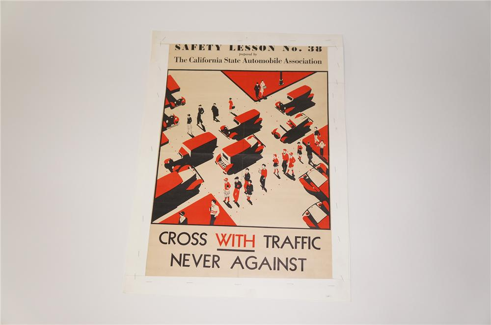 "N.O.S. 1933 California State Automobile Association Safety Lesson ""Cross with Traffic"" poster. - Front 3/4 - 125458"
