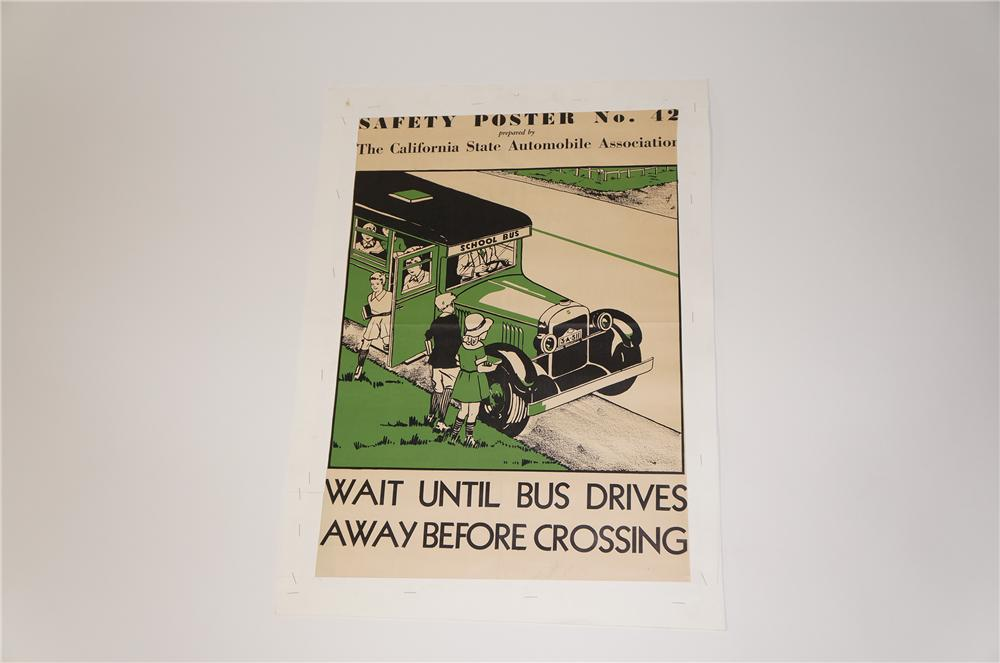 "N.O.S. 1933 California State Automobile Association Safety Lesson ""Wait Until Bus Drives Away"" poster. - Front 3/4 - 125459"