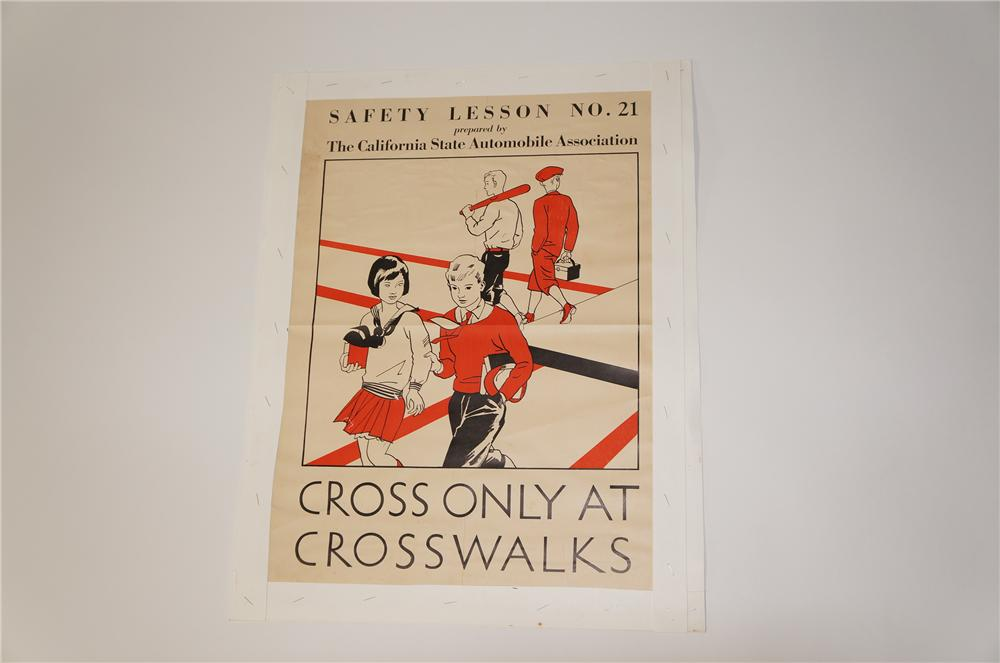 """N.O.S. 1933 California State Automobile Association Safety Lesson """"Cross only at crosswalks"""" poster. - Front 3/4 - 125460"""