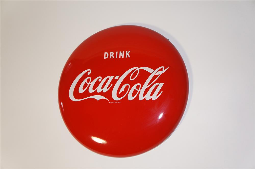 "Very clean 1950s Drink Coca-Cola 24"" porcelain button sign. - Front 3/4 - 125467"