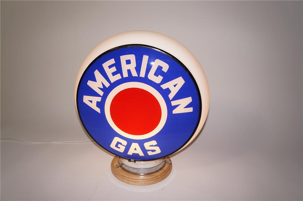Choice N.O.S. 1940s American Gas service station gas pump gill-body globe.  Found unused! - Front 3/4 - 125475