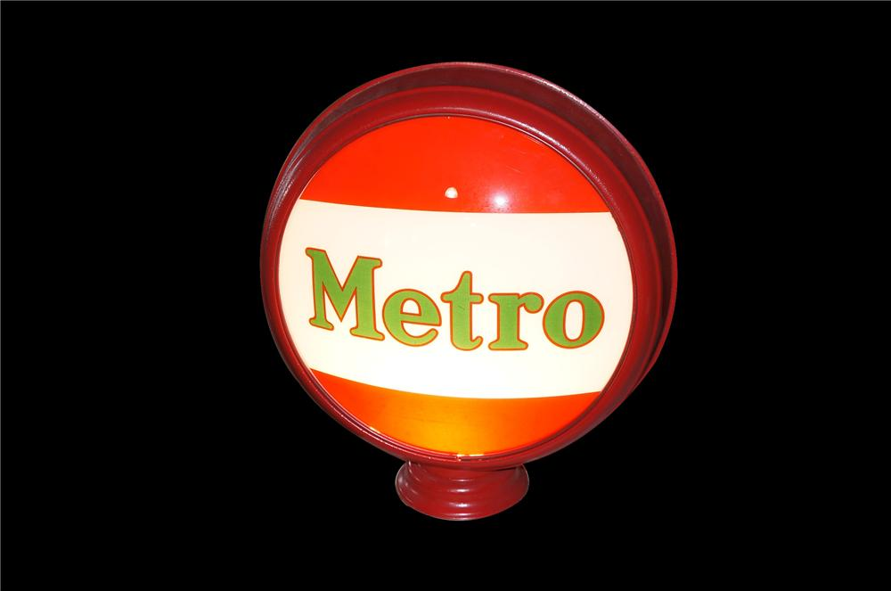 Outstanding 1930s Mobil Metro Gasoline metal bodied gas pump globe.  Very impressive! - Front 3/4 - 125476