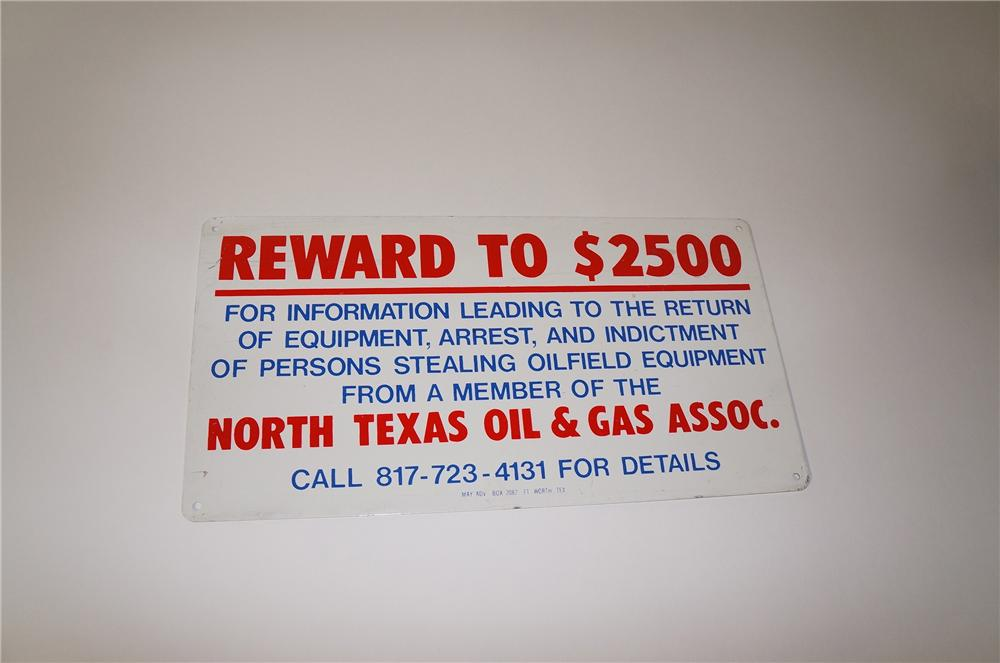 North Texas Oil and Gas single-sided tin painted oil field reward sign. - Front 3/4 - 125477