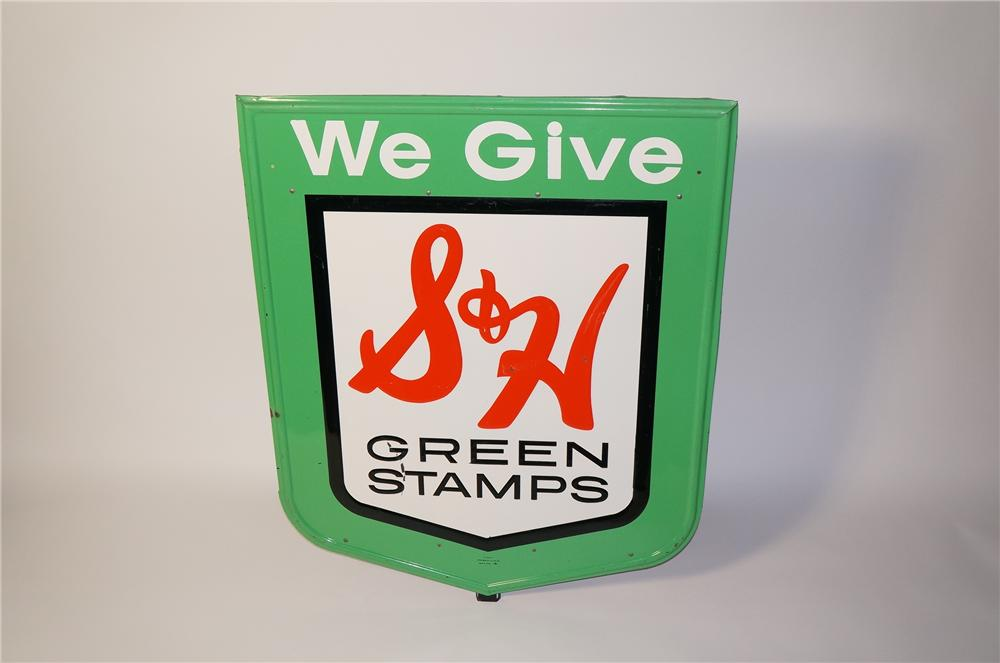 Large S&H Green Stamps single-sided embossed tin service station sign. - Front 3/4 - 125483