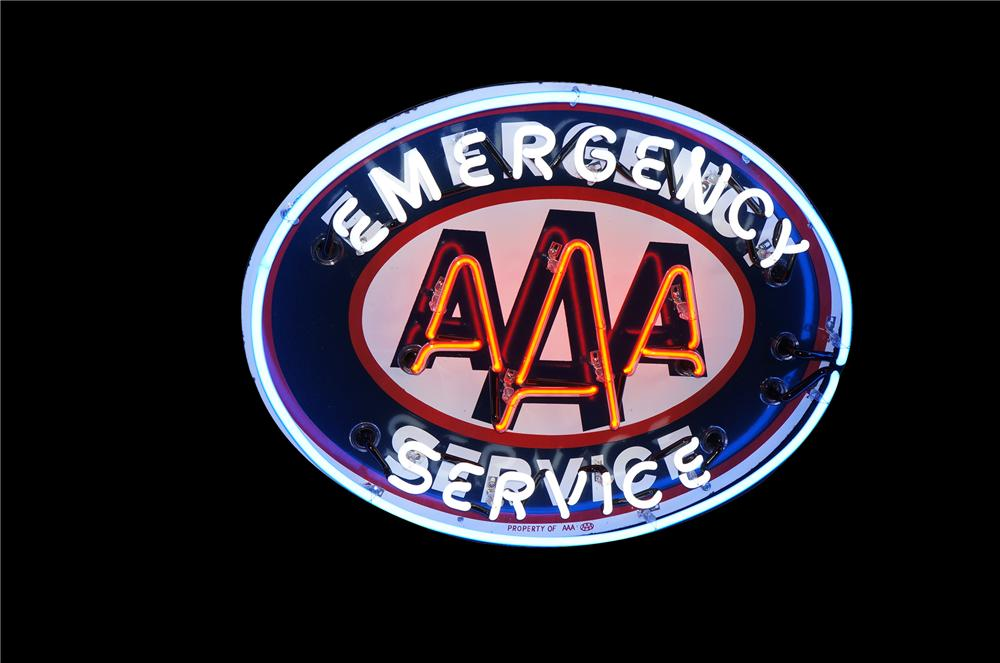 Impressive 1950s Triple A Emergency Service single-sided porcelain neon service station/automotive garage sign. - Front 3/4 - 125485