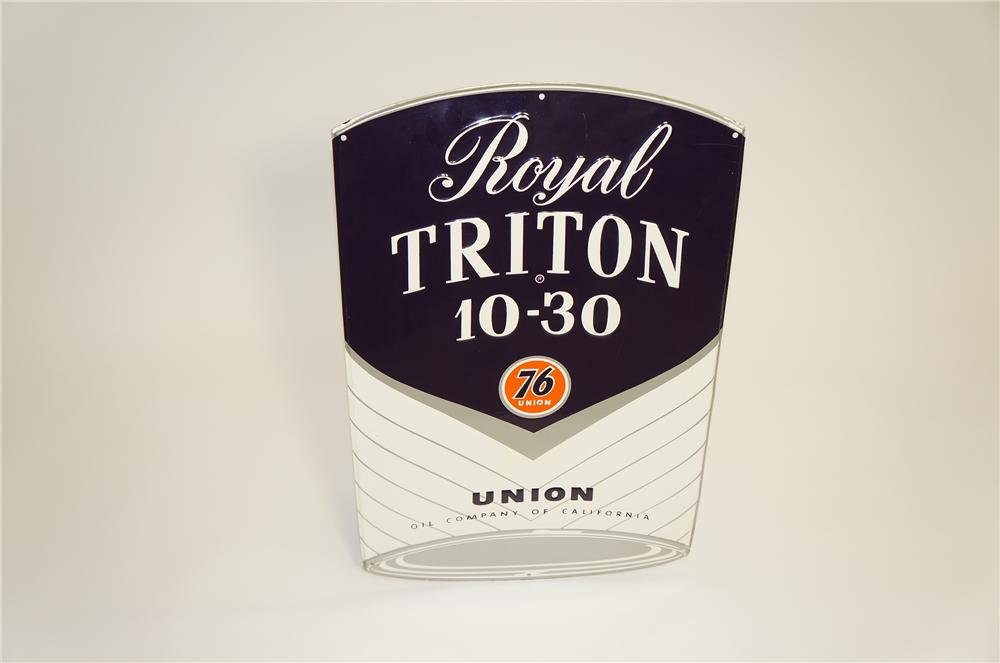 Sharp late 1950s-60s Union 76 Royal Triton die-cut tin can-shaped garage sign. - Front 3/4 - 125489