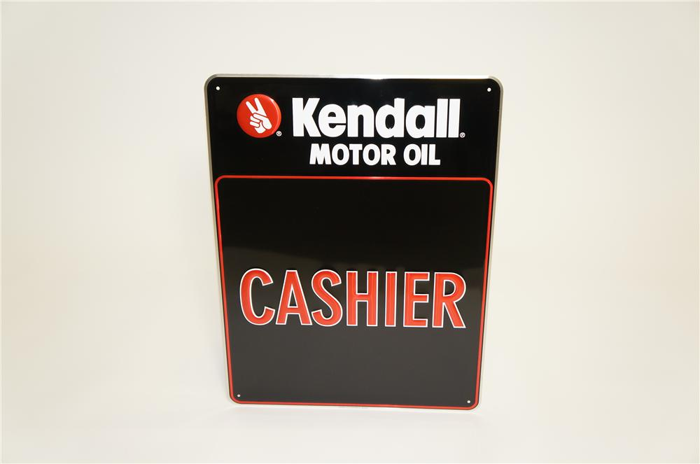 "N.O.S. Kendall Motor Oil ""Cashier"" embossed tin garage sign. - Front 3/4 - 125493"