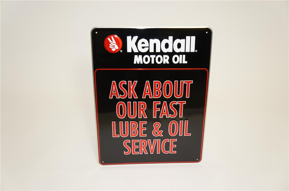 """N.O.S. Kendall Motor Oil """"Ask About Our Fast Lube"""" single-sided embossed tin garage sign. - Front 3/4 - 125494"""