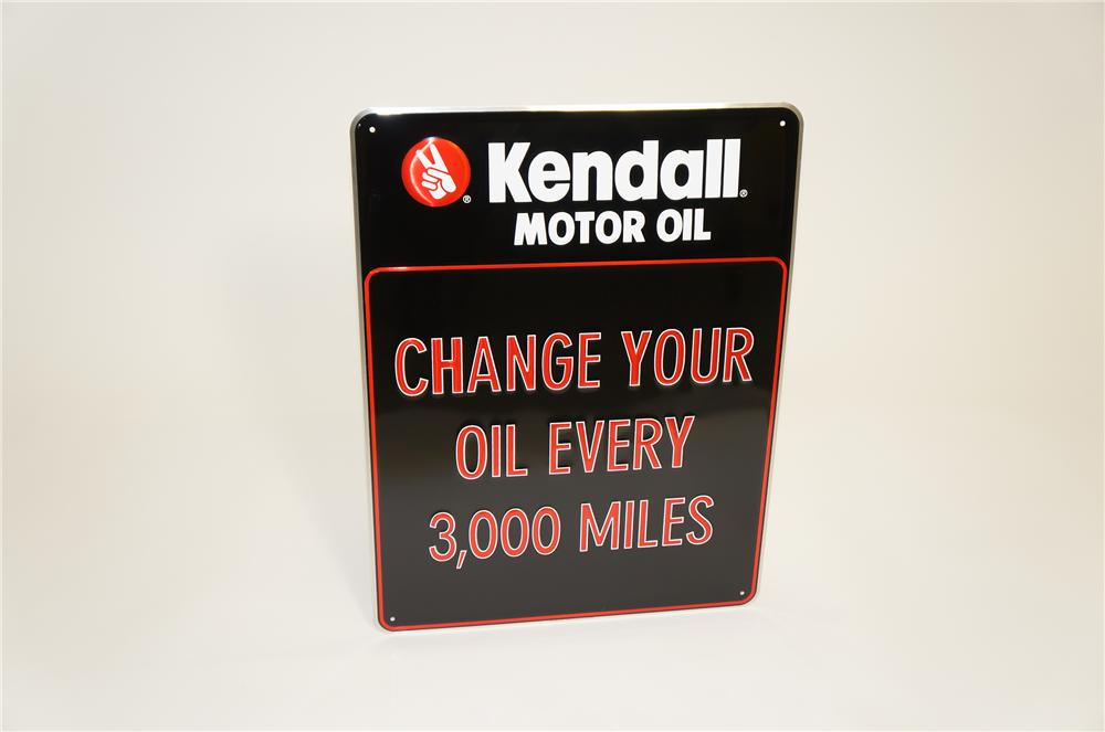"""N.O.S. Kendall Motor Oil """"Change Your Oil Every 3,000 Miles"""" embossed tin garage sign. - Front 3/4 - 125495"""