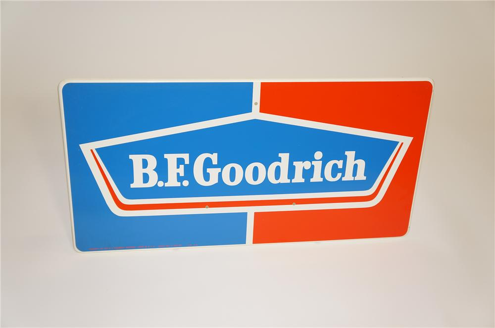 N.O.S. 1960s B.F. Goodrich Tires single-sided horizontal tin garage sign. - Front 3/4 - 125496